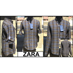 ZARA RELAXED FIT  LONG SLEEVE  ROLL-UP BUTTON TAB
